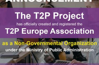 """The official registration of """"Shoqata Evropiane e Qendrave nga Teoria në Praktikë / European Association of Theory to Practice Centers – T2P Europe"""""""
